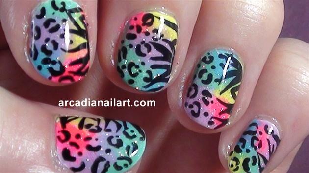 Rainbow Leopard Zebra Print Nails Nail Art Gallery