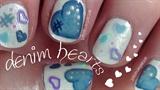 Denim Hearts on Short Nails