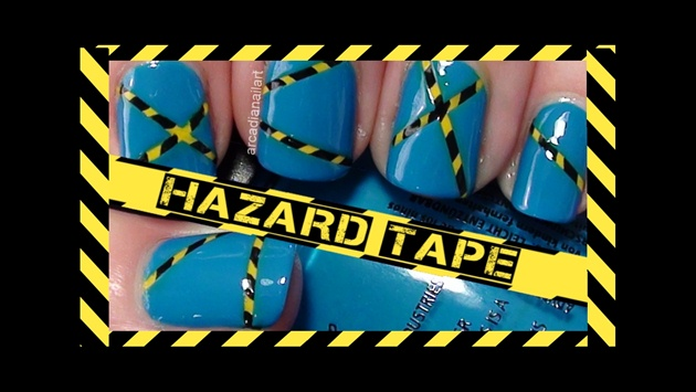Easy Hazard Tape Effect Nail Art