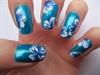 Blue one stroke nail art.