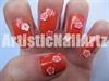 Orange fimo nail art.