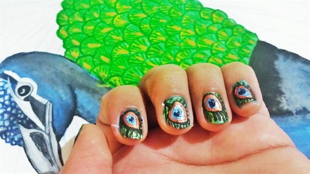Peacock Nail Art design