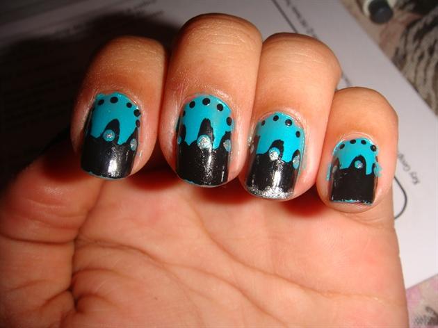 Black And Teal Nail Art Nail Art Gallery