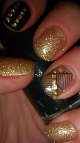Black and Gold Gel Manicure (left hand)