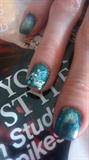Blue Metallic Silver Sponge Manicure