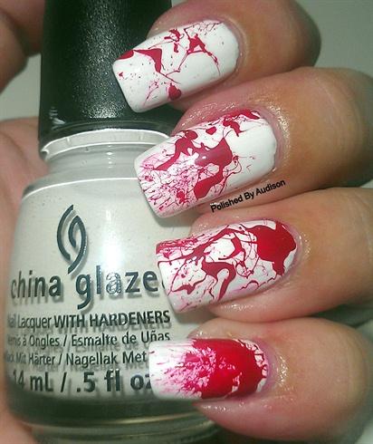 Blood Splatter Halloween Nail Art