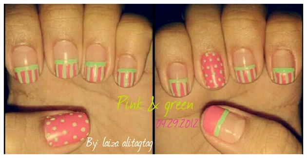 pink and green dots and stripes