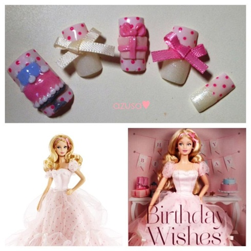 nails for Birthday Wishes Barbie Doll❤
