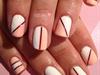 pink & white two tone nail❤