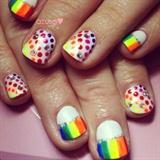 rainbow nail art❤