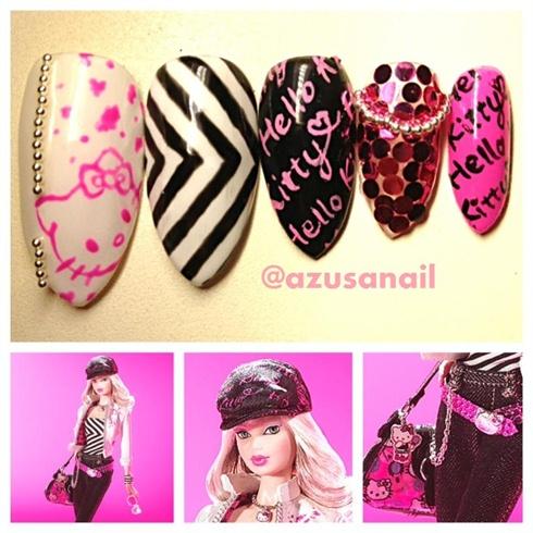 Hello Kitty Barbie Nail❤