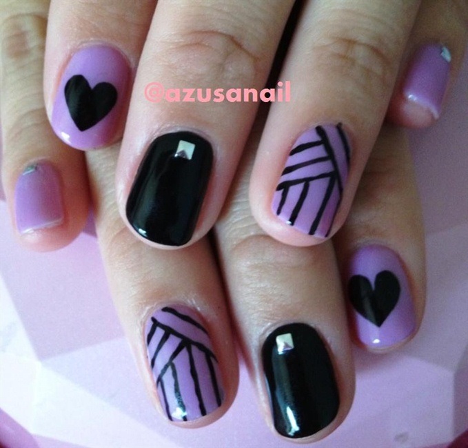 purple and black nail art❤ - Nail Art Gallery