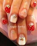 polka dots deep french nails