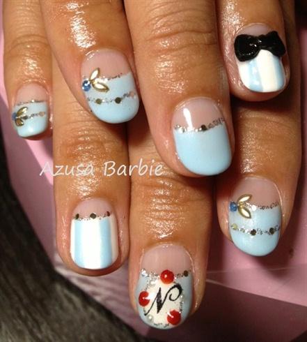 baby blue half moon nails