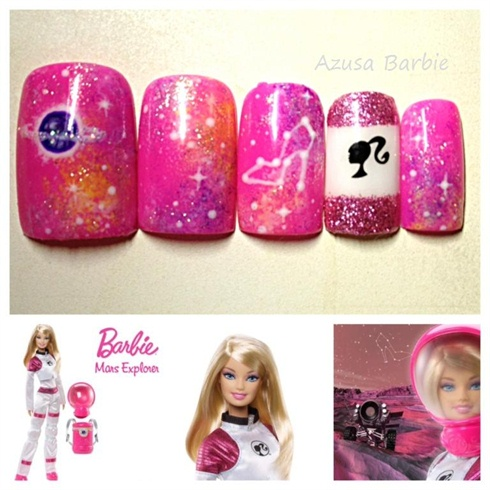 Barbie Galaxy nails