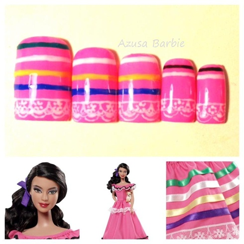 Mexico Barbie nails