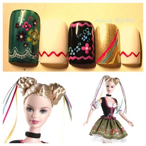 Oktoberfest Barbie nail