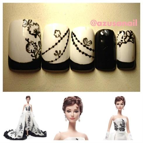 Audrey Hepburn Barbie nails