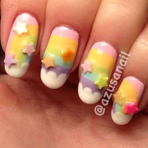 3D rainbow nails
