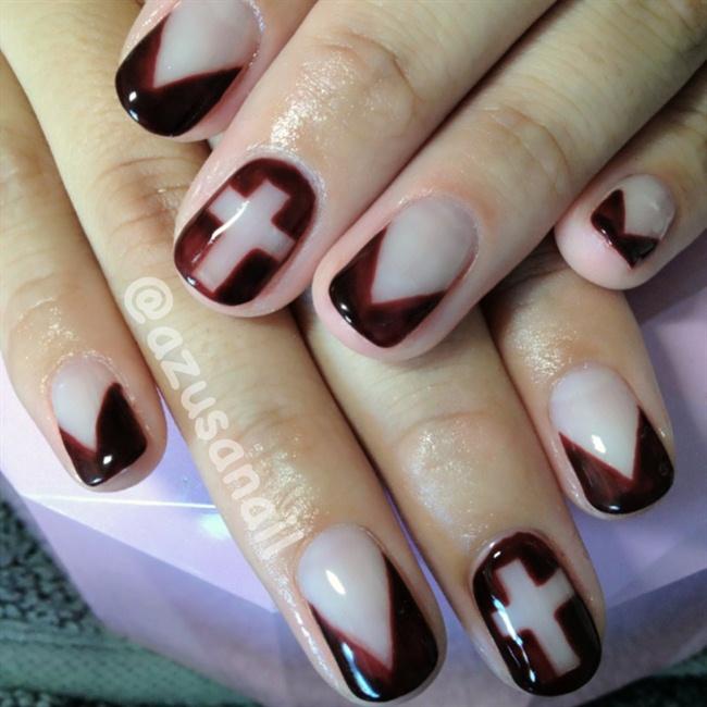 burgundy v french nail - Nail Art Gallery