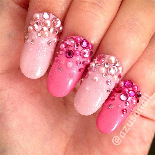 Rhinestones ombre nails nail art gallery prinsesfo Choice Image