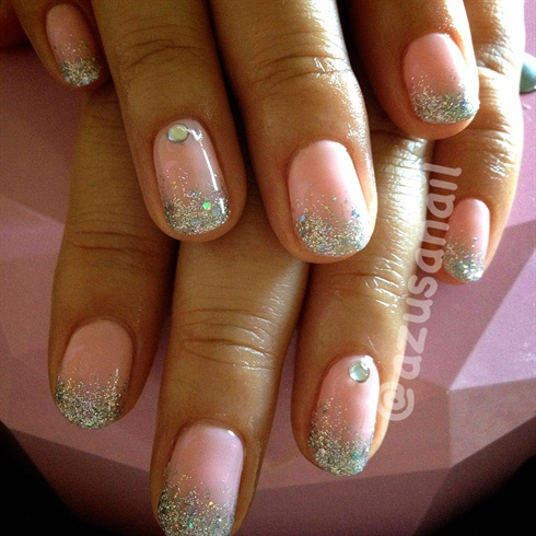 glitter ombre with rhinestones  nail art gallery