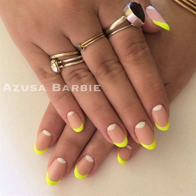 Neon French Nails - Nail Art Gallery