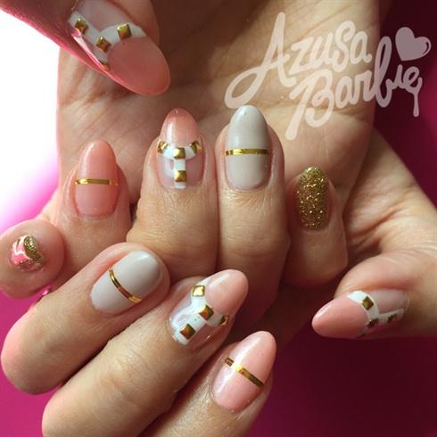Peach color Gel w/gold Line Tape - Peach Color Gel W/gold Line Tape - Nail Art Gallery