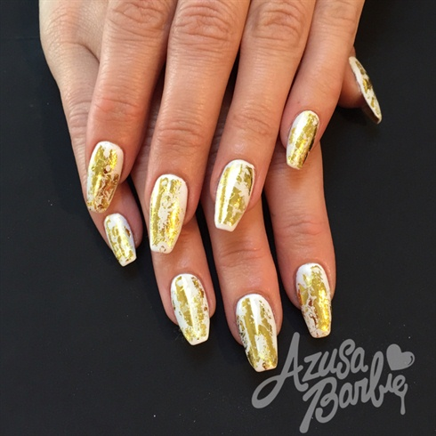 Gold Foil On White Nails Nail Art Gallery