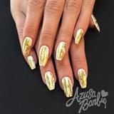 Gold Foil On White Nails