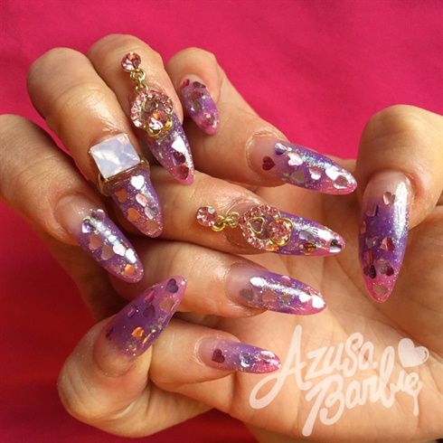 Heart Glitter Nails