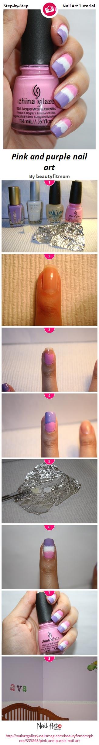 Pink and purple nail art - Nail Art Gallery
