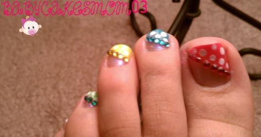 colorful polka dot toes