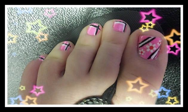 pink flower& lines♡♡♡