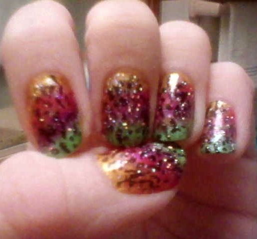Rainbow Cheetah Nail Art
