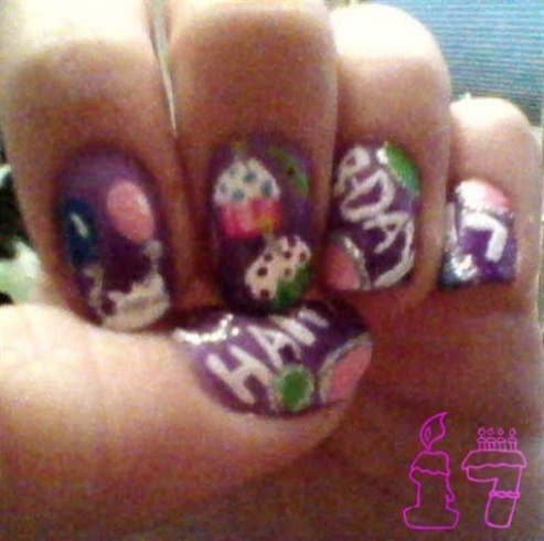 My 17th birthday nail design