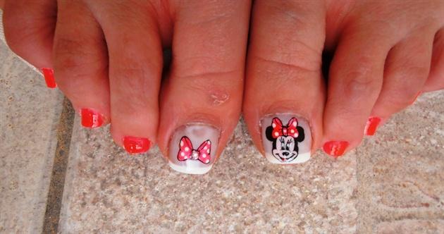 Neon Minnie Toe Nails Nail Art Gallery