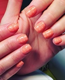 Peach Stamped Nails