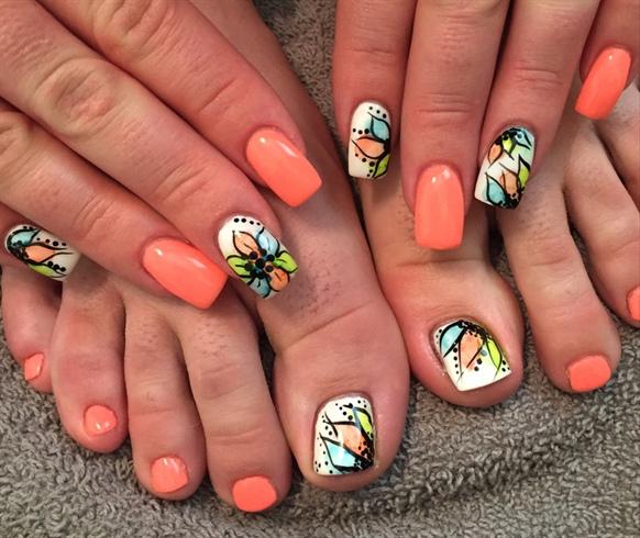 Coral Watercolor Nails Nail Art Gallery