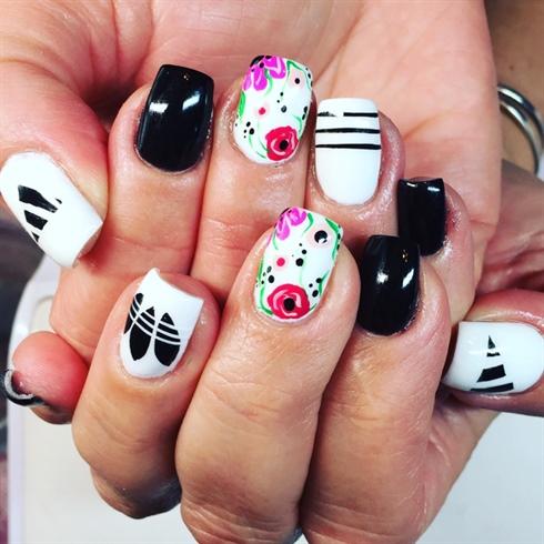 Adidas Floral Nails
