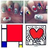 Keith Haring and Piet Mondrian Nails