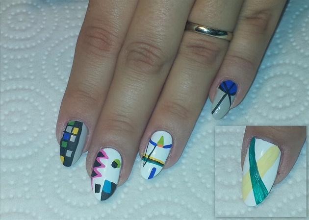 With acrylic paint, add a bit of detail: Add a teal swoop on top of the ochre one on the thumb, begin to fill in the boxes on the checkerboard with some colors. Add black detailing to the abstract shapes on the middle finger, add a couple triangles to the lines on the ring finger, and draw two lines from the base of the pinky nail toward the end of the nail and make them intersect in the middle