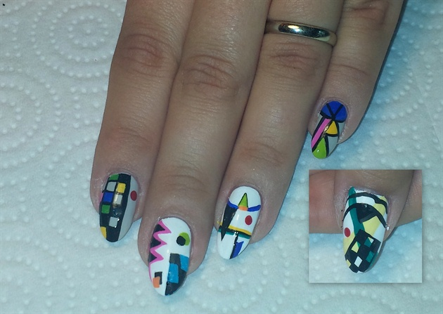 Add a dot to the empty space on the index finger, fill in the black triangle on the ring finger and add some lines radiating off the two long lines on the pinky and fill in the resulting shapes with color. For the thumb add a square, fill it with vertical and horizontal lines and fill in every other one, checkerboard style. Then add some curving lines and shapes, and a red dot for a Kandinsky-esque accent