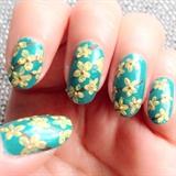 Yellow floral nail art