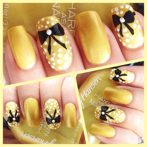 Bow & Polka nail art