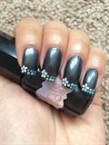 Graphite flowers nail art