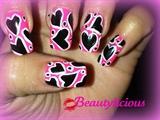 Hot pink w/black hearts