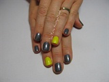Neon Yellow & Gun Metal Glitter