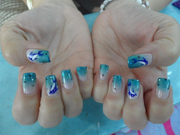 My cute COOL DOLPHINS in Gradation - My Cute COOL DOLPHINS In Gradation - Nail Art Gallery