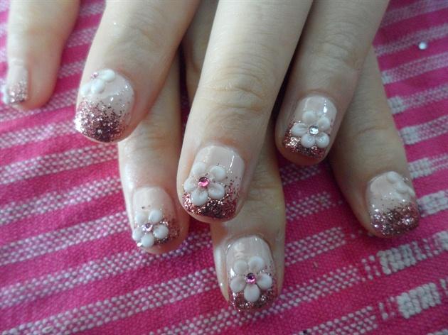 Glitter Gradation with Flower